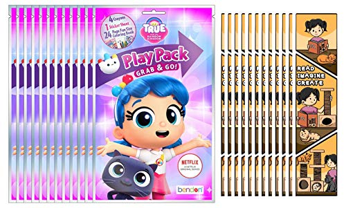 Bundle of 12 True and the Rainbow Kingdom Grab & Go Play Packs and 12 KaleidoQuest 'Read, Imagine, Create' Kitty-Themed Colorable Bookmarks