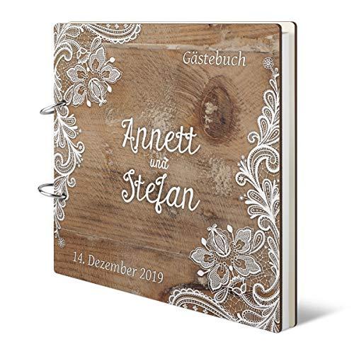 Hochzeit Gästebuch personalisiertes Holzcover - Rustikal - 215 x 215 mm 144 Seiten Innenseiten Naturpapier