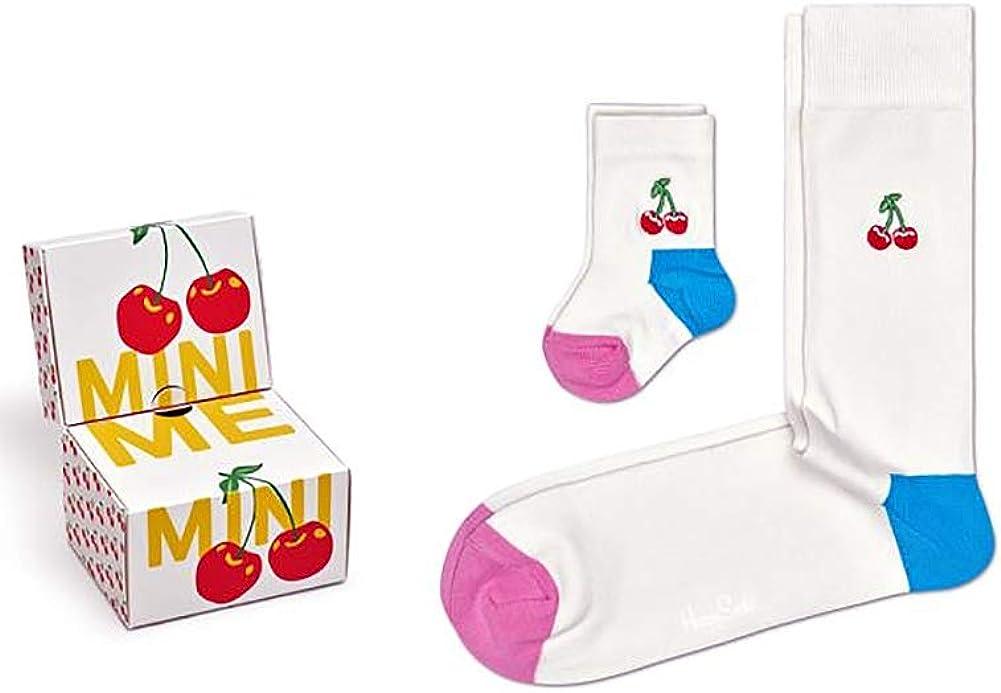 Happy Socks Unisex Mini Me Parent and Baby Cherry Pattern Gift Set (2 pairs)