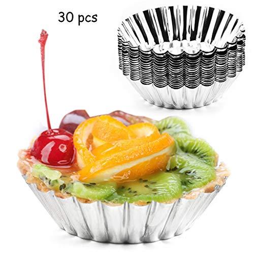 30 pics oeuf moules à tarte mini moules à muffins à gâteau en aluminium moules moules moules à pudding antiadhésifs outils de cuisson réutilisables de cuisine