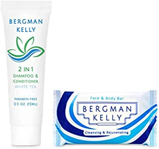 BERGMAN KELLY Rectangle Soap Bars, 2in1 Shampoo & Conditioner 2-Piece Set (White Tea, 0.5 oz each, 100 pc), Delight Your Guests with Revitalizing & Refreshing Travel Toiletries & Hotel Amenities