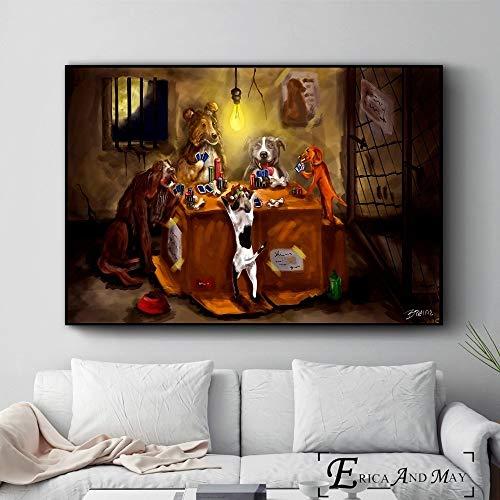 ganlanshu Hund spielt Poker Spaß Stil Poster und drucken Wanddekoration Malerei Heimdekoration,Rahmenlose Malerei-50X75cm