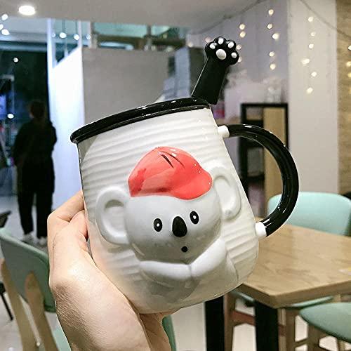 mglxzxxzc Taza De Cerámica De Dibujos Animados Super Lindos Creativos Niños Y Niñas Coreanos Tazas para Beber Leche para El Hogar Tazas De Café-Gray_420Ml