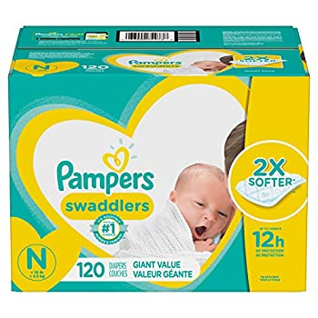 Baby Diapers Newborn/Size 0  < 10 lb  120 Count - Pampers Swaddlers ONE MONTH SUPPLY  Packaging May Vary