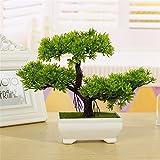 Bonsái de cedro artificial, bonsái de bienvenida, emulado de pino, bonsái, flores artificiales decorativas, macetas verdes decorativas, decoración del hogar (verde)