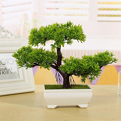 Snow Island - Cedro de bonsái artificial para decoración del hogar, diseño de árbol de pino artificial, color verde