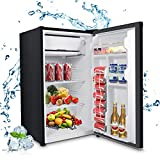 MOOSOO Compact Refrigerator, 3.2 Cu Ft Mini Fridge with Freezer, Compact Small Refrigerator with Energy Saving and Low noise, Ideal for Bedroom, Kitchen, Office and Dorm (Black)