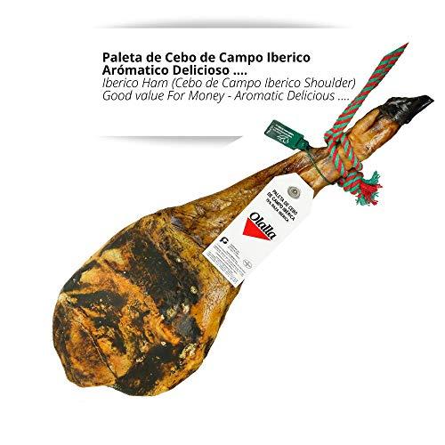 Paleta de Jamon de Cebo de Campo Iberico 50% Raza Iberica - Jamon Iberico de Elaboracion Artesanal - Embutidos y Regalos Ibericos de Bellota - (Pieza Completa 4.5 - 5 kg)