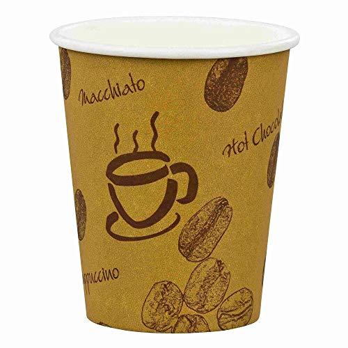 100 Verpackungsteam coffee to go lot 100 gobelets à café en carton revêtu motif hOT bEANS 300 ml et 300 ml de gobelets à café pour café à emporter avec motif imprimé \
