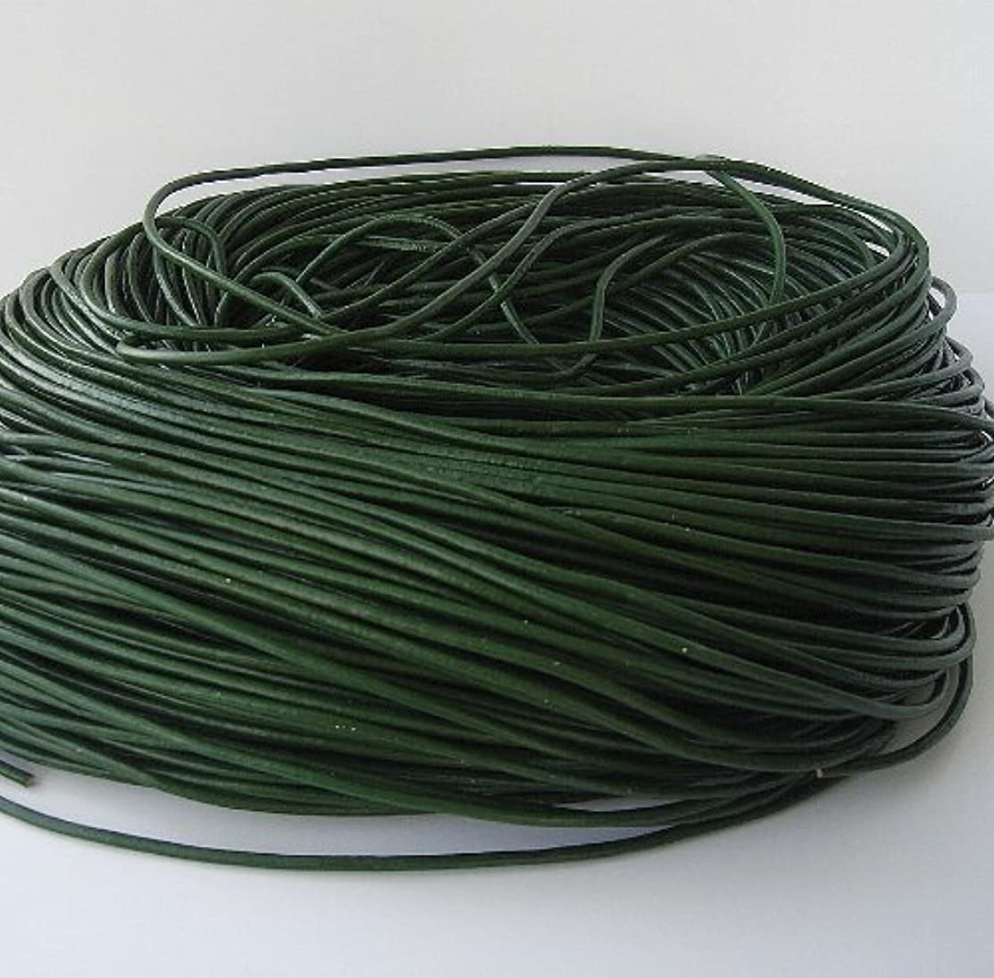 BeadsTreasure 15 Ft of Dark Green Genuine Leather Cord Round 2 mm Diameter.