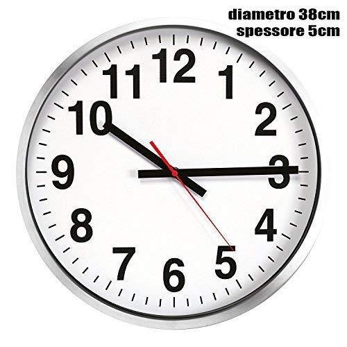 No brand Grande Orologio da Muro Parete Maxi in Alluminio Diametro 38 cm