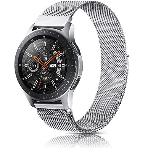 AK 22mm Cinturino Compatibile per Samsung Galaxy Watch 46mm, Cinturino in Acciaio Inossidabile per Galaxy Watch 3 45mm/ Gear S3 Frontier/Classic, Garmin Vivoactive 4, Fossil Gen 5 (22mm, Argento)