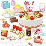 HERSITY 85 Pezzi Torta di Compleanno da Tagliare Giocattolo Servizio da tè Finto Cibo Giochi di Imitazione Regalo per Bambini
