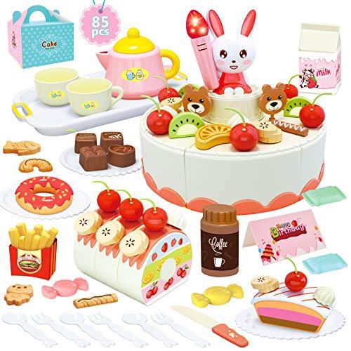 HERSITY 85 Piezas Alimentos de Juguete Corte de Frutas y Alimentos Pastel de Cumpleaños de Juguete con Vela y Música Regalos para Niños Niñas 3 4 5 6 Años