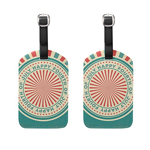 COOSUN Fourth of July Luggage Tags Travel Labels Tag Name Card Holder for Baggage Suitcase Bag Backpacks, 2 PCS