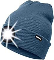 ATNKE LED Lighted Beanie Cap, USB Rechargeable Running Hat Ultra Bright 4 LED Waterproof Light Lamp and Flashing Alarm...