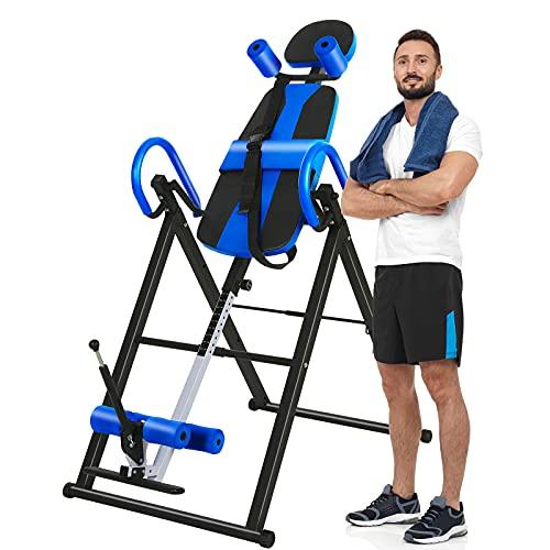 ZEHNHASE Inversionsbank klappbarer Schwerkrafttrainer MAX. 150kg mit Verstellbarer Kopfstütze und Schutzgürtel Heimgebrauch Heimfitnessgeräte mit 3 Inversionswinkel: 20°, 40° und 60° Klappbar
