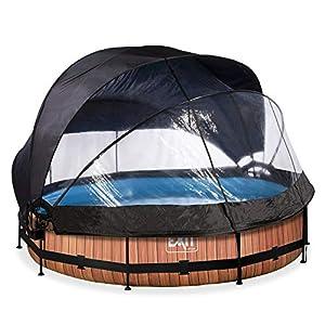 EXIT Piscina de madera de 360 x 76 cm con cubierta, toldo y bomba de filtro, color marrón