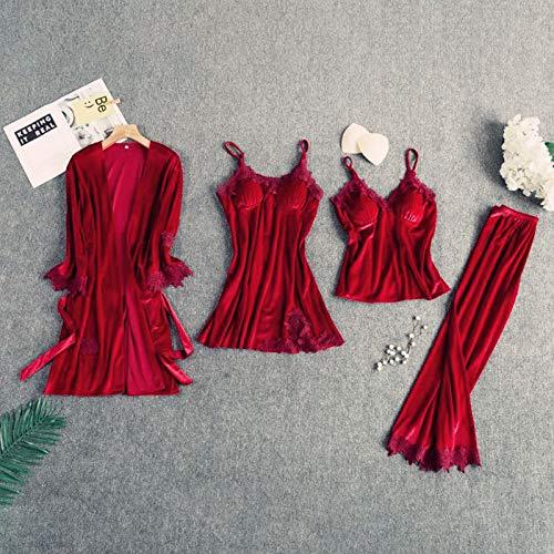 Conjunto De Dormir Con Cuello En V, Bata De Casa, Vestido De Terciopelo De Invierno, Pijama De Kimono Sexi Para Mujer, Traje De Dormir, Pijamas Suaves De Terciopelo Para Mujer(Color:rojo,Size:2)