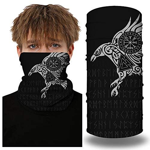SansoiSan Unisex 3D stampato tubo maschera fascia scaldacollo Ghetta multifunzionale bandana tubo foulard foulard maschera viso passamontagna Stampa aquila Taglia unica