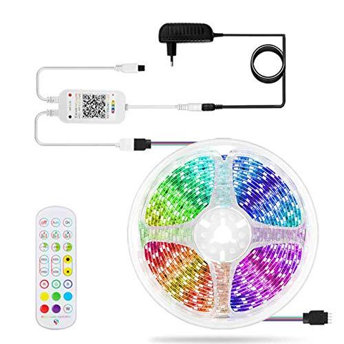 LED-Streifen,5m Licht,LED Streifen Bluetooth Musiksynchronisation, 5050 RGB-LED-Streifen,24-Tasten-Fernbedienung mit Fernbedienung LED Band Lichterkette Lichtstreifen Dekoration,American regulations