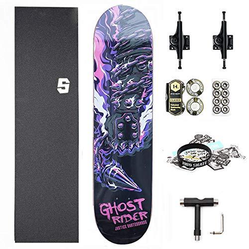 ACAMPTAR Retro Style Teen Skateboard Anfänger Double Alice Skateboard Kind, Erwachsener Vier Skateboard-Red Devil's Hand-8.0