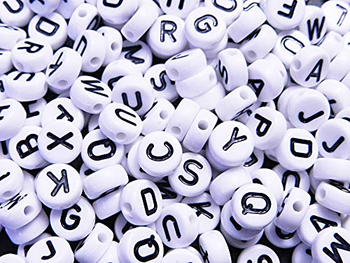 200個 アルファベット文字アクリルビーズ 円形 フラット ホワイト×ブラック文字 10mm 穴:2.2mm クラフト 手芸用品 ジュエリー アクセサリーパーツ Huey 手芸材料のヒューイ h2116s27