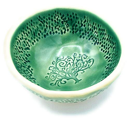 B JANECKA Green Tree of Life Bowl, Artisan Crafted in USA, Pottery 9th Anniversary Gift