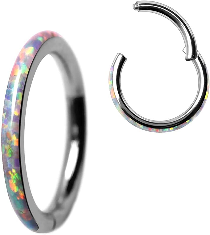Covet Jewelry 316L Stainless Steel White Synthetic Opal Seamless Clicker Ring