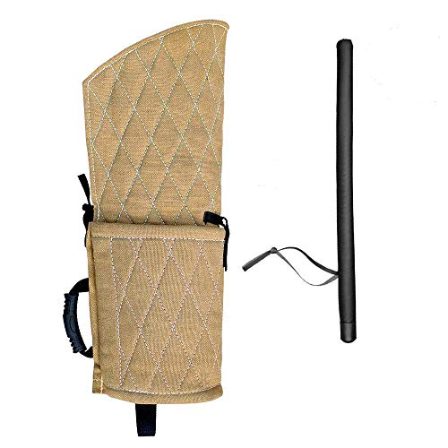 PET ARTIST Jute Dog Biting Training Sleeve for Young Dogs Fits Both Left and Right Hand for Young Dogs with PU Leather Whip Stick Set