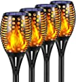 Ambaret Solar Lights Upgraded, Outdoor Waterproof Flickering Flames Torches Lights Solar Spotlights Landscape Decoration Lighting Dusk to Dawn Auto On/Off Torch Light for Pation Garden (4 Pack)
