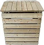 Nativ Komposter aus Holz mit Deckel, Holzkomposter aus imprägniertem Lärchenholz mit klappbarer Abdeckung, 78 x 75 x 91 cm, stabile und langlebige Qualität