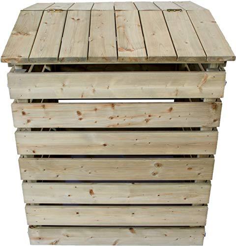 Nativ Komposter aus Holz mit Deckel, Holzkomposter aus imprägniertem Lärchenholz mit klappbarer Abdeckung, 75 x 72 x 91 cm, stabile und langlebige...