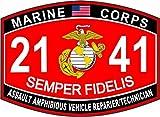 Assault Amphibious Vehicle (AAV) Repairer/Technician Marine Corps MOS 2141 USMC US Marine Corps Military Window Car Bumper Sticker Vinyl Decal 3.8'