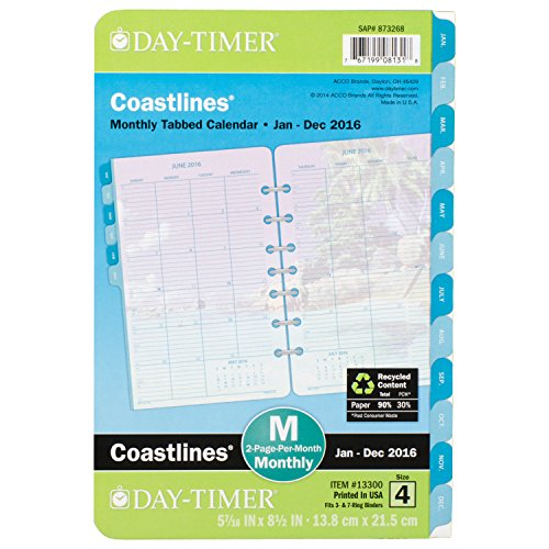DayTimer Coastlines Desk-Size Monthly Refill 2016, 5.5 x 8.5 Inches Page Size (133001601)
