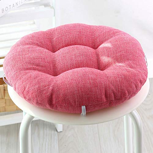 GTD-Cojines para Exterior, Almohadillas de cojín, Lino Redondo Espesado Cojín de Asiento Cojín Cojinete Cojín Cojín Heces Cojín Cojín Banda Elástica Diseño (1 Paquete) (Color : Pink, Size : 45cm)