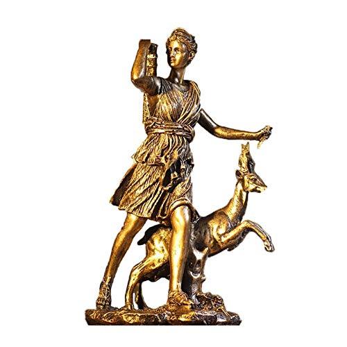 Yiyu Jagd Diana Statue, Griechische Artemis Mondgöttin SAMMLBARE Figur, Antike Bronze Finish Home Decor Skulptur Bronze x (Color : 1)