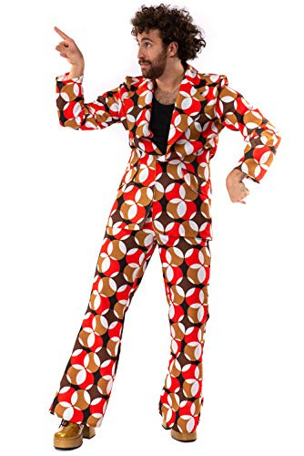 Original Replicas Sixties Seventies Hippie Disco Soul Dance Chasing Circles Kostüm Mann Jacke und Hose XXL - XS bis 3XL
