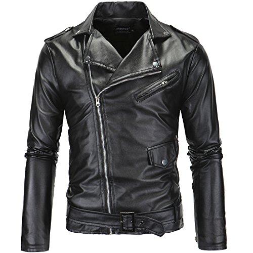 (チェリーレッド) CherryRed メンズ 防風パーカー アウター ジャケット コート 革ジャン ライダース バイク 黒 白 L ブラック