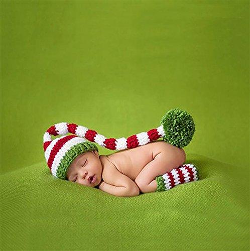 PEPEL Cappello di Natale Baby Crochet Rosso Verde Elfo Long Tail Pom-Pom Calzini