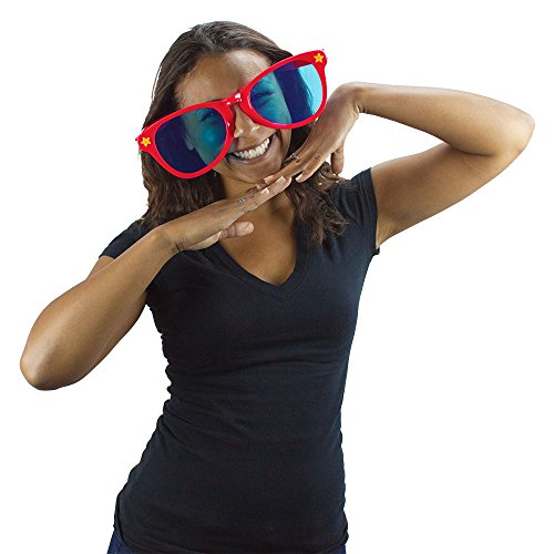 Jumbo Party Sunglasses   Novelty Shades Perfect for Birthdays, Theme Parties, Charity Events, Weddings, and More   Giant Glasses, Fits Adults and Children (Red)