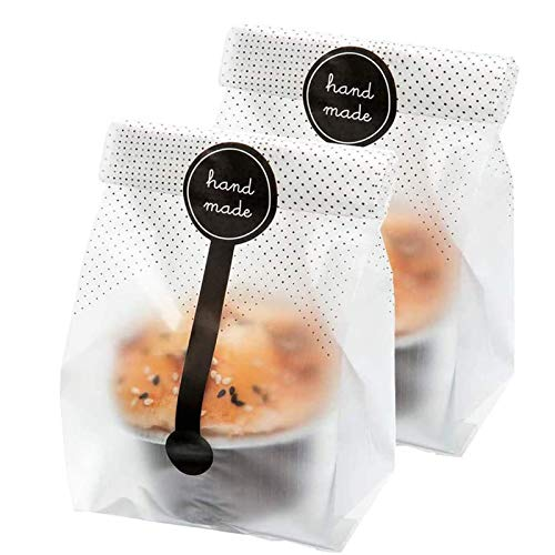 Palksky (400Pcs)200pcs Translucent Plastic Bags/Cellophane Bags with 200pcs Handmade Stickers for Muffin Cookie Cake Chocolate Candy Snack Wrapping Bakery Packaging