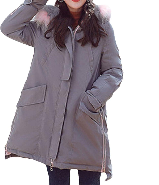 Jxfd Women's Lightweight Faux Fur Hood Quilted Puffer Coats Down Parka Jacket