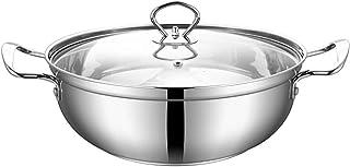 Fuentes for Horno, de Acero Inoxidable Sopa de Olla de Cocina Olla con Tapa de Vidrio, Olla con Calor a Prueba de Doble asa, una fácil Limpieza (Size : 30 * 10cm)