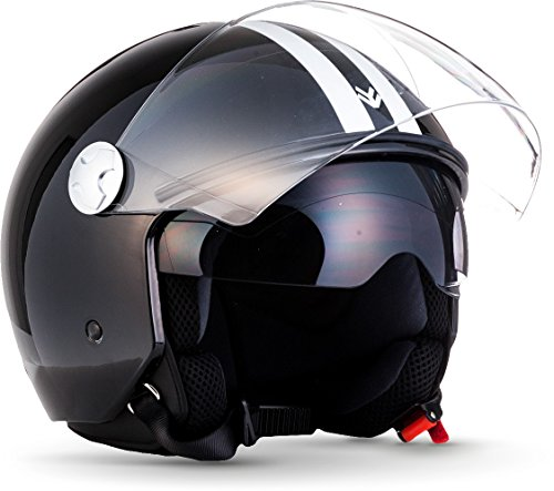 """Armor · AV-63 """"Fun Shiny Black"""" (black) · Casco moto Demi Jet · Urbano Scooter Retro motocicleta Urban Helmet · ECE certificado · Separate Visors · Click-n-Secure™ Clip · L (59-60cm)"""