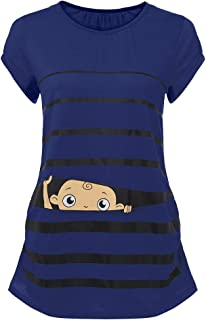 Woman Maternity T-Shirt,Stripe Baby Print Short Sleeve Ruched Side Top, Pregnancy Funny Fashion Style Blouse