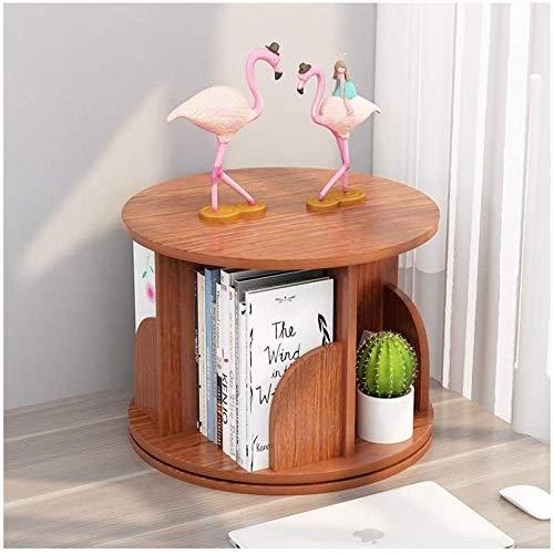 Skrivbordshyllor 360 graders roterande skrivbord bokhylla skrivbordsorganiserare visa hylla hem kontor förvaringsställ fristående hållare trä bokhylla skrivbordsförvaring organisatör (färg: rosa) – brun
