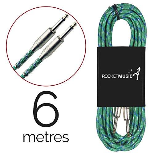 Rocket Music GCJJV600GR - Cable jack a jack (6.3 mm, 6 m, tweed), color verde