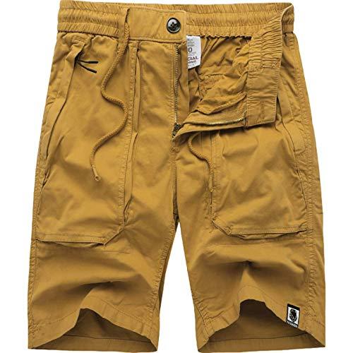 Pantalones Cortos Holgados de Verano para Hombre Pantalones Cargo Casuales de Color Liso Pantalones de Playa de Talla Grande con Pierna Recta clásica 32