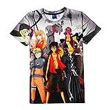 EDMKO T-Shirts 3D Naruto One Piece Anime Series Camiseta Manga Corta Cuello Redondo Dibujos Animados Adolescentes Fanáticos del Cómic Unisex Cosplay Costume,Small